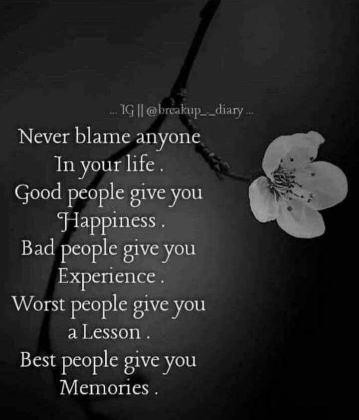motivational dialogue - . . . 1G | | @ breakup _ _ diary . Never blame anyone _ In your life Good people give you Happiness Bad people give you Experience . Worst people give you a Lesson Best people give you Memories . - ShareChat