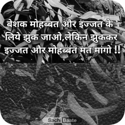 motivational sonch - बेशक मोहब्बत और इज्जत के । लिये झुक जाओ , लेकिन झुककर इज्जत और मोहब्बत मत मांगो ! ! Sachi Baate - ShareChat
