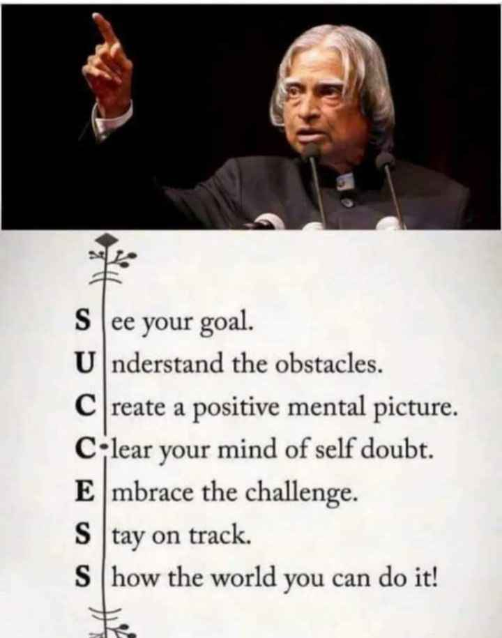 motivation words - See your goal . Understand the obstacles . Create a positive mental picture . Clear your mind of self doubt . Embrace the challenge . Stay on track . Show the world you can do it ! - ShareChat