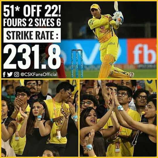 msdh - 51 * OFF 22 ! FOURS 2 SIXES 6 STRIKE RATE : 231 . 8 mo VWO VIVO fy @ CSKFans Official - ShareChat