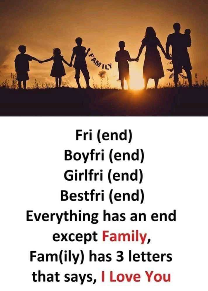my family - FAM Fri ( end ) Boyfri ( end ) Girlfri ( end ) Bestfri ( end ) Everything has an end except Family , Fam ( ily ) has 3 letters that says , I Love You - ShareChat
