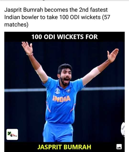 my jasprit bumrah - Jasprit Bumrah becomes the 2nd fastest Indian bowler to take 100 ODI wickets ( 57 matches ) 100 ODI WICKETS FOR INDIA JASPRIT BUMRAH - ShareChat