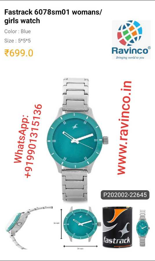 nann watch - Fastrack 6078 sm01 womans / girls watch Color : Blue Size : 5 * 5 * 5 699 . 0 Ravinco® Bringing world to you WhatsApp : + 919901315136 Www . ravinco . in . P202002 - 22645 fastrack - ShareChat