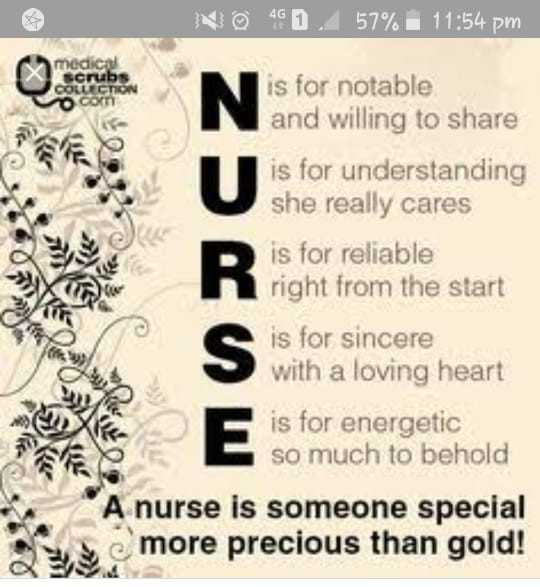national nurses day - NO 490 57 % 11 : 54 pm medica Scrab COLLECTION COX is for notable and willing to share is for understanding she really cares is for reliable right from the start is for sincere with a loving heart is for energetic so much to behold A nurse is someone special more precious than gold ! - ShareChat