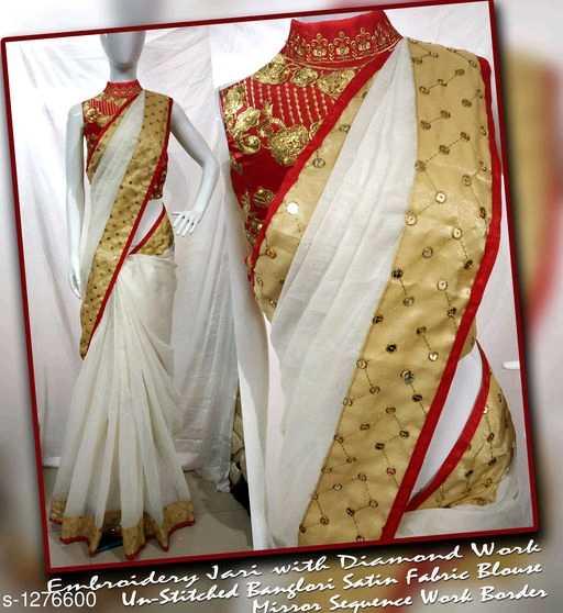 😉new sarees - ofembroidery Jasi with Diamnd Work 276600 Un - Stitched Bançleri Satin Fabric Blouse Mirror Searners Wank P - ShareChat