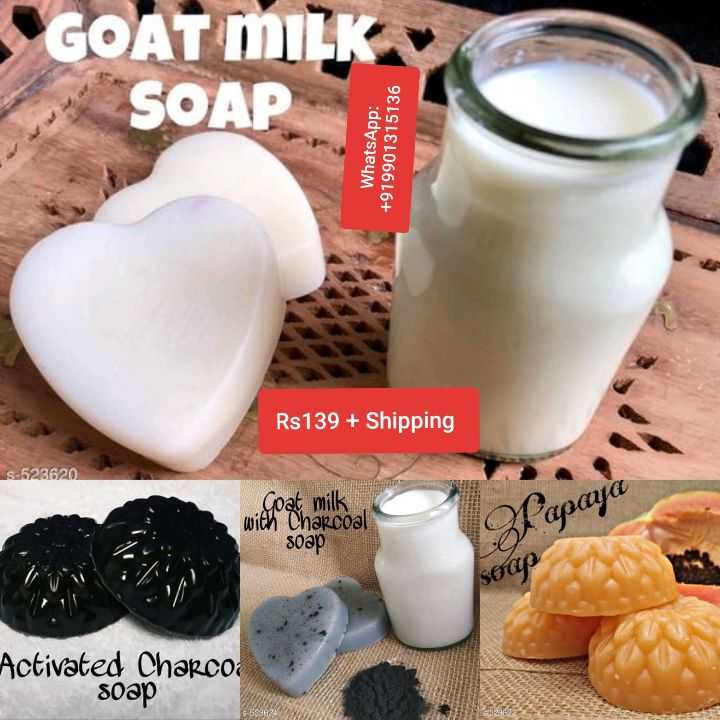 new  soap - GOAT MILK SOAP WhatsApp : + 919901315136 Rs 139 + Shipping s - 523620 Goat milk with Charcoal Papaya soap sora Activated Charcoa soap - ShareChat