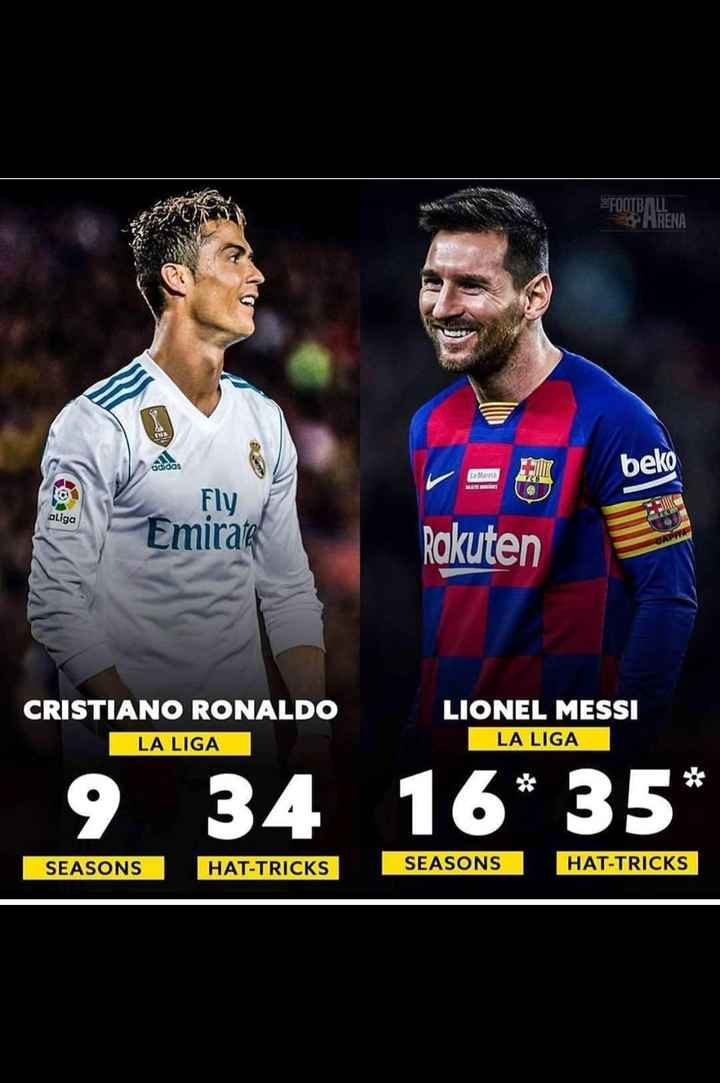 😍 njr vs lm10 vs cr7 - FOOTBALL . ARENA beko Laat Fly aliga Emirata Rakuten CRISTIANO RONALDO LIONEL MESSI LA LIGA LA LIGA 9 _ 34 _ 16 * 35 * SEASONS HAT - TRICKS SEASONS HAT - TRICKS - ShareChat