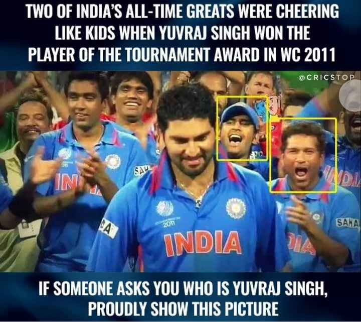 😛old వరల్డ్ కప్ మెమోరీస్ - TWO OF INDIA ' S ALL - TIME GREATS WERE CHEERING LIKE KIDS WHEN YUVRAJ SINGH WON THE PLAYER OF THE TOURNAMENT AWARD IN WC 2011 @ CRICSTOP . SAUL 201 SANA INDIA IF SOMEONE ASKS YOU WHO IS YUVRAJ SINGH , PROUDLY SHOW THIS PICTURE - ShareChat