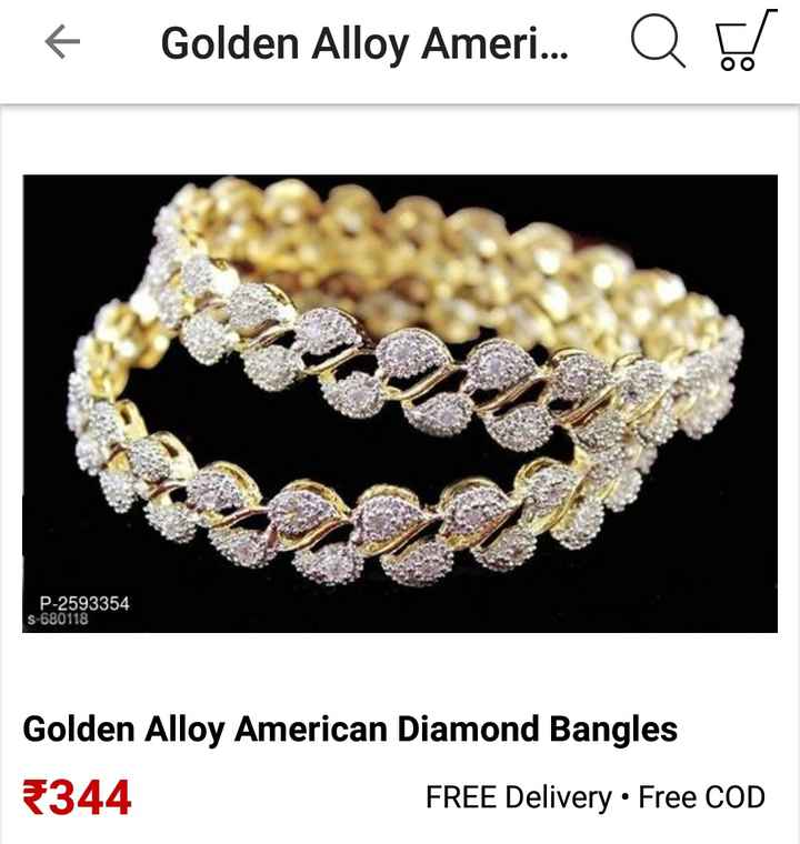 online shopping - + Golden Alloy Ameri . . . Q bd Asif P - 2593354 S 680118 Golden Alloy American Diamond Bangles 5344 FREE Delivery • Free COD - ShareChat