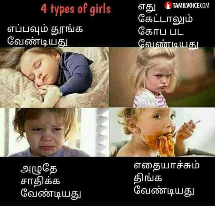 only for girls - TAMILVOICE . COM 4 types of girls எப்பவும் தூங்க வேண்டியது கேட்டாலும் கோப் பட வேண்டியது அழுதே சாதிக்க வேண்டியது எதையாச்சும் திங்க வேண்டியது - ShareChat