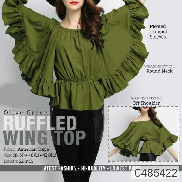 #patelonlineshopping - Pleated Trumpet Sleeves WEARING STYLE 1 Round Neck WEARING STYLE 2 Off Shoulder Olive Green RUFFLED WING TOP Fabric : American Crepe Size : 38 ( M ) 40 ( L ) 42 ( XL ) Length : 22 inch LATEST FASHION HI - QUALITY LOWEST PR - ShareChat
