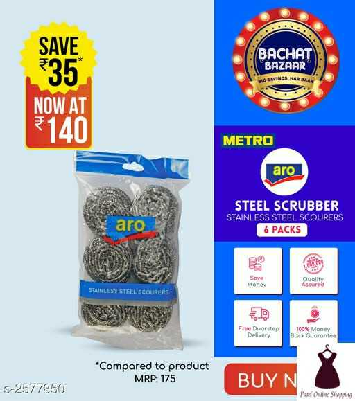 #patelonlineshopping - SAVE 335 BACHAT BAZAAR BUG SAVINCS , MARBAN NOW AT 140 METRO aro STEEL SCRUBBER STAINLESS STEEL SCOURERS 6 PACKS aro . Sove Money Quality Assured STAINLESS STEEL SCOURERS Free Doorstep Delivery 100 % Money Bock Guarantee * Compared to product MRP : 175 BUYN S - 2577850 Pad Online Shopping - ShareChat