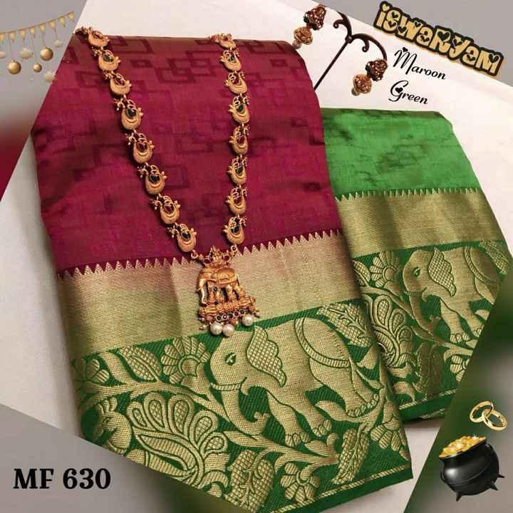 pattu sarees - SWARTAM Maroon Green MF 630 - ShareChat