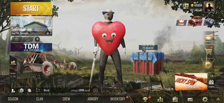 """pubg game - 07 START 40 , 658 VGYKILLÈR : """" Lv . 34 Asia Select Mode > > > > > PRIME Evo Ground ( TPP ) 1 : Map : TDM : Warehouse TDM Lucky Air Drop 03 : 42 : 57 414 TPP / FPP VOM Invite 13 / 261 MIKISA Lucky Spin A World ' oli pu : ( 313£ cew ] 5 , SEASON CLAN CREW ARMORY INVENTORY - ShareChat"""