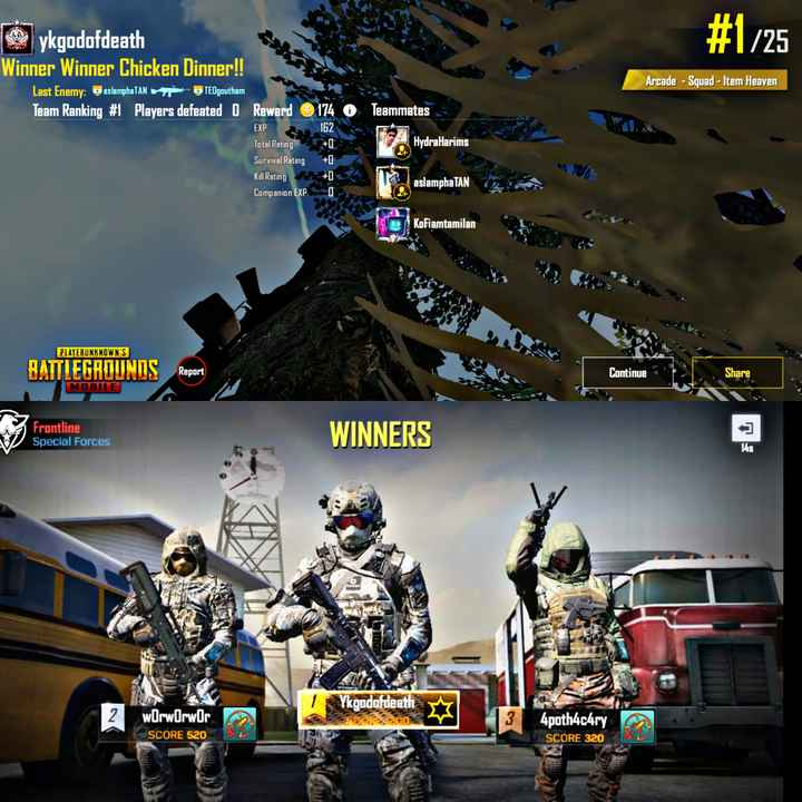 pubg tamil - # 1 / 25 ykgodofdeath Winner Winner Chicken Dinner ! ! Last Enemy : OaslamphaTAN TEOgoutham Team Ranking # 1 Players defeated 0 Reward Arcade - Squad - Item Heaven Teammates 162 WE HydraHarims 174 O EXP Total Rating Survival Rating Kill Rating Companion EXPO Kill Rating > > + m aslampha TAN 1 . Kokiamtamilan PLAYERUNKNOWN ' S BATTLEGROUNDS Report Continue Share MOBILE Frontline WINNERS Special Forces wOrwOrwor Ykgodofdeath 00 4poth4chry SCORE 320 SCORE 520 - ShareChat