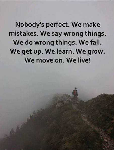 quote - Nobody ' s perfect . We make mistakes . We say wrong things . We do wrong things . We fall . We get up . We learn . We grow . We move on . We live ! - ShareChat