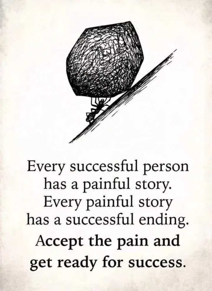 quote - Every successful person has a painful story . Every painful story has a successful ending . Accept the pain and get ready for success . - ShareChat