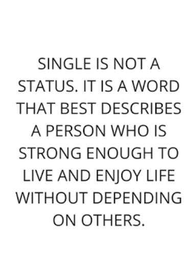 quotes - SINGLE IS NOT A STATUS . IT IS A WORD THAT BEST DESCRIBES A PERSON WHO IS STRONG ENOUGH TO LIVE AND ENJOY LIFE WITHOUT DEPENDING ON OTHERS . - ShareChat