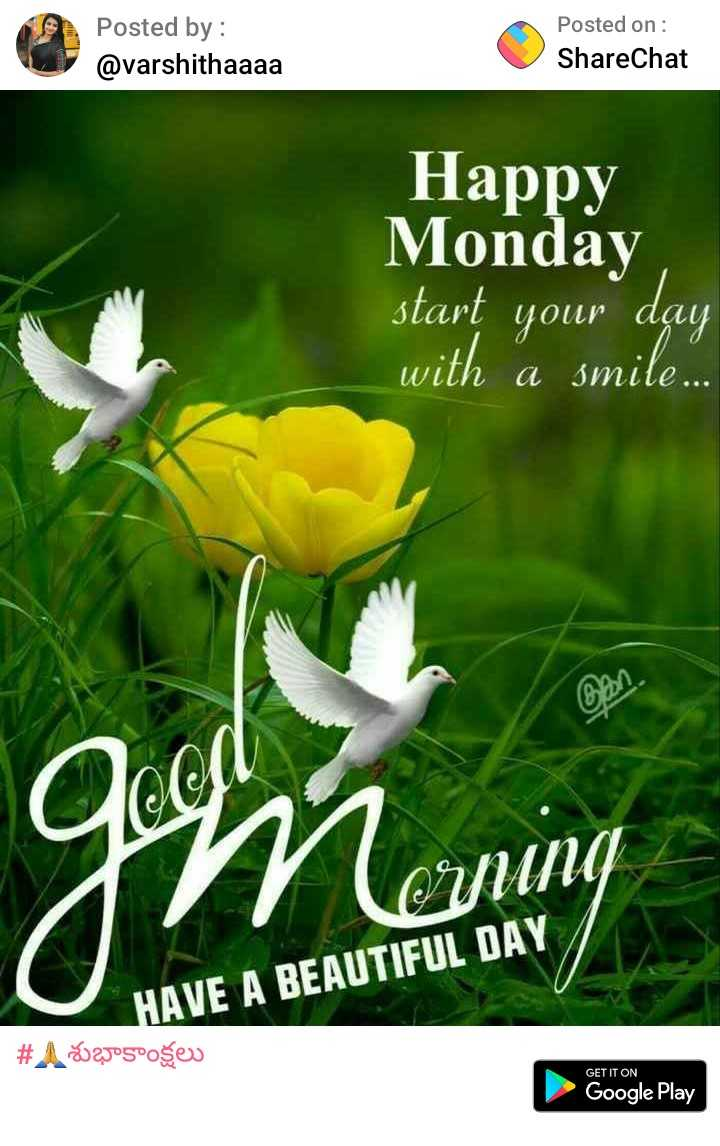 ram - Posted by : @ varshithaaaa Posted on : ShareChat Happy Monday start your day with a smile . Imuning OYUNG HAVE A BEAUTIFUL DAY # A12505°ošev GET IT ON Google Play - ShareChat