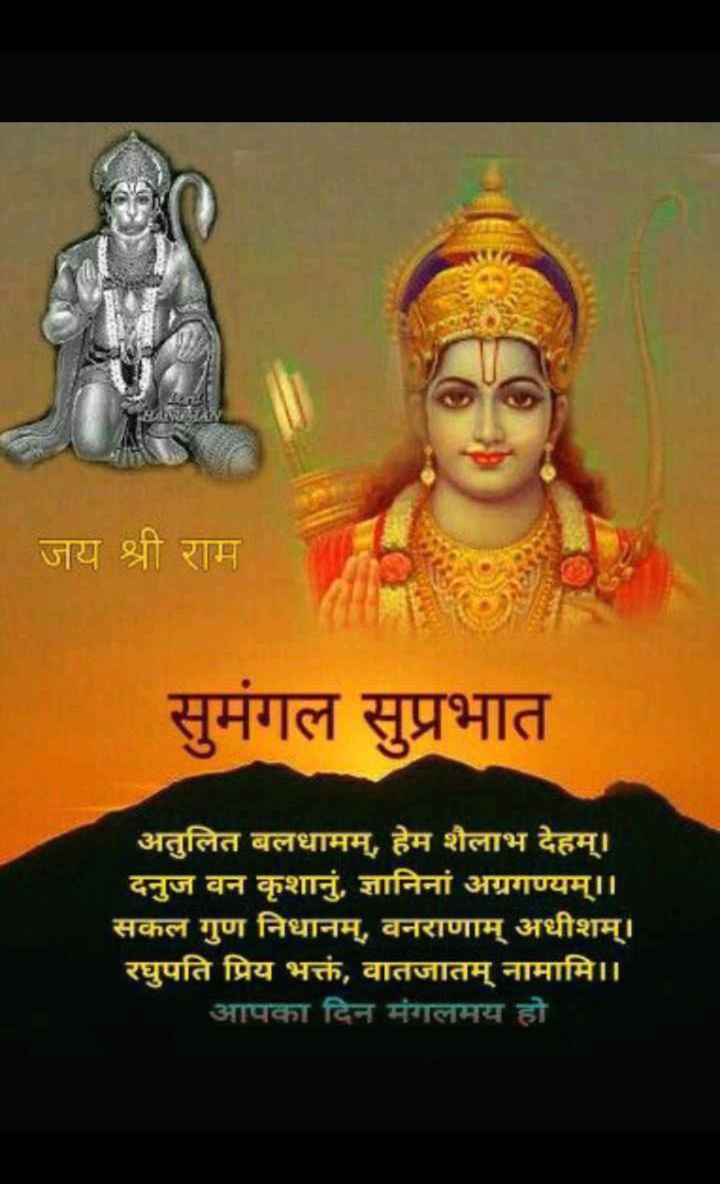 ram ram ram - जय श्री राम सुमंगल सुप्रभात अतुलित बलधामम् , हेम शैलाभ देहम् । दनुज वन कृशानु , ज्ञानिनां अग्रगण्यम् । । सकल गुण निधानम् , वनराणाम् अधीशम् । रघुपति प्रिय भक्तं , वातजातम् नामामि । । आपका दिन मंगलमय हो - ShareChat