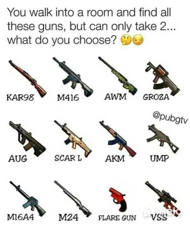 real pubg - You walk into a room and find all these guns , but can only take 2 . . . what do you choose ? KAR98 M416 AWM GROZA @ pubgtv AUG SCARL AKM UMP M16A4 M24 FLARE GUN VSS * * * - ShareChat
