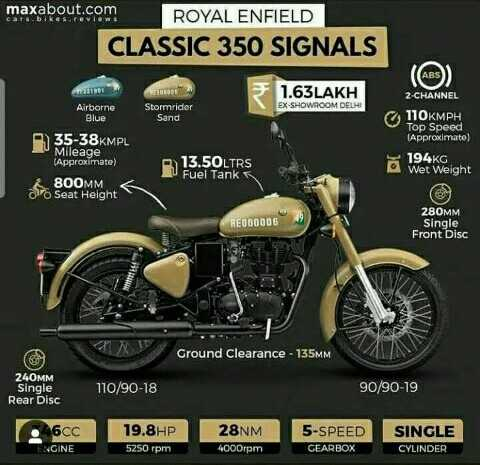 royal enfield - maxabout . com ROYAL ENFIELD CLASSIC 350 SIGNALS 1 . 63LAKH 2 - CHANNEL EX - SHOWROOM DELHI Airborne Blue Stormrider Sand 35 - 38KMPL Mileage ( Approximate ) 800MM 7 Seat Height 110KMPH Top Speed ( Approximate ) 194KG o Wet Weight 13 . 50LTRS U Fuel Tank REO00006 280MM Single Front Disc Ground Clearance - 135MM 240MM Single Rear Disc 110 / 90 - 18 90 / 90 - 19 2460C ENGINE 19 . 8HP 5250 rpm 28NM 4000rpm 5 - SPEED GEARBOX SINGLE CYLINDER - ShareChat