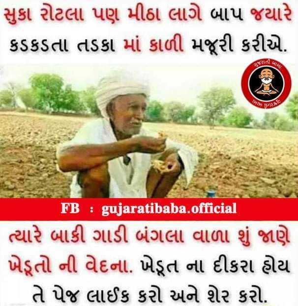 royal khedut🌱 - સુકા રોટલા પણ મીઠા લાગે બાપ જયારે કડકડતા તડકા માં કાળી મજૂરી કરીએ . કરતાં જ છાટ FB : gujaratibaba . official ત્યારે બાકી ગાડી બંગલા વાળા શું જાણે ખેડૂતો ની વેદના . ખેડૂત ના દીકરા હોય તે પેજ લાઈક કરો અને શેર કરો . - ShareChat