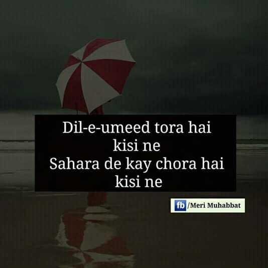 sad sayri - Dil - e - umeed tora hai kisi ne Sahara de kay chora hai kisi ne fb / Meri Muhabbat - ShareChat