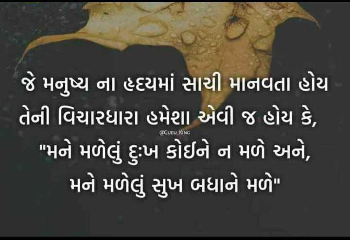 satya hakikat - જે મનુષ્ય ના હદયમાં સાચી માનવતા હોય ' તેની વિચારધારા હમેશા એવી જ હોય છે , મને મળેલું દુ : ખ કોઈને ન મળે અને , ' મને મળેલું સુખ બધાને મળે GUTU _ KING - ShareChat