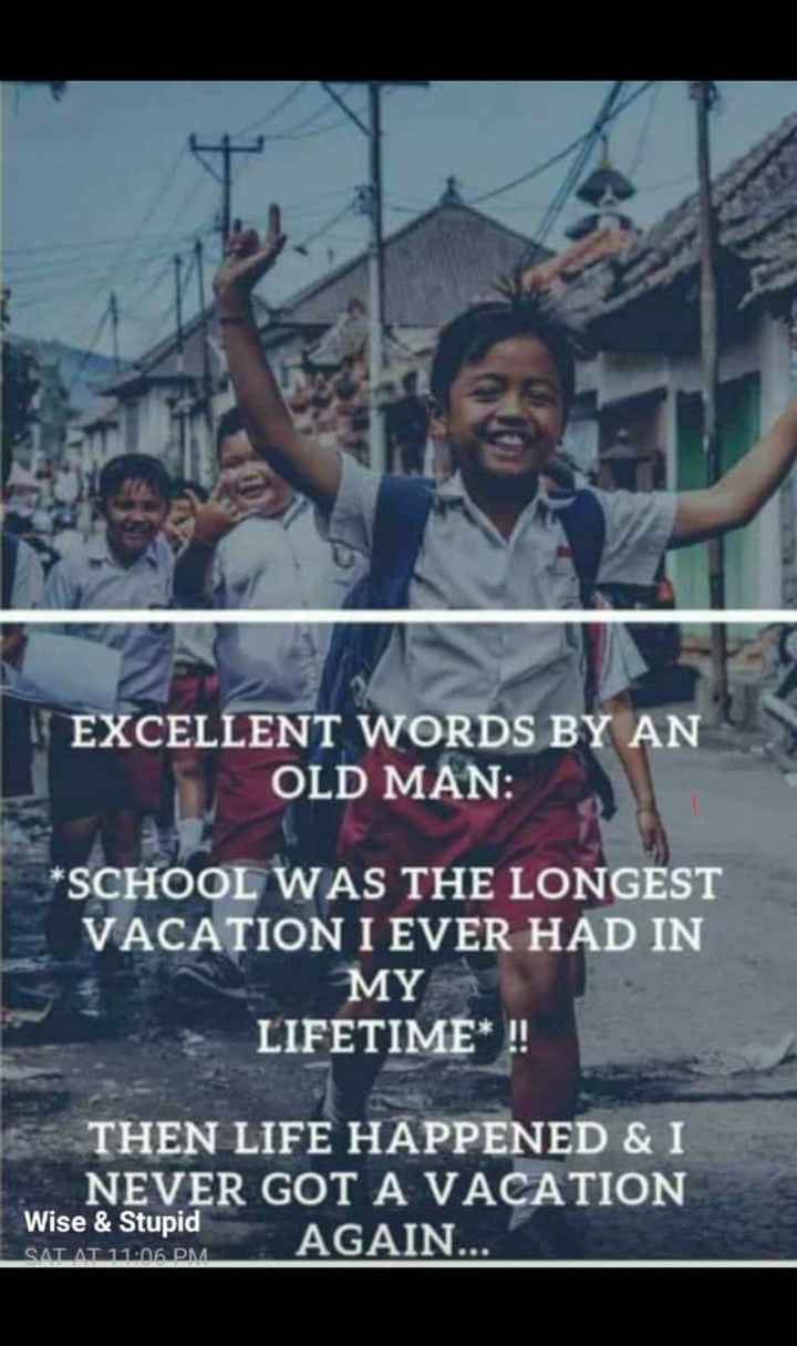 school days - EXCELLENT WORDS BY AN OLD MAN : * SCHOOL WAS THE LONGEST VACATION I EVER HAD IN MY LIFETIME * ! ! THEN LIFE HAPPENED & I NEVER GOT A VACATION Wise & Stupid AGAIN . . . SAT AT 11 : 06 PM - ShareChat