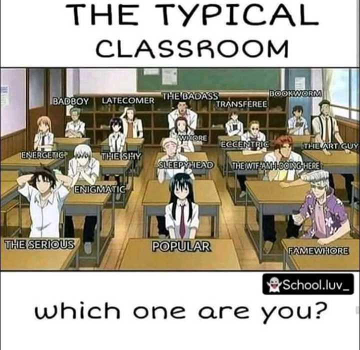 school life - THE TYPICAL CLASSROOM BADBOY LATECOMER THE BOOKWORM THE BADASS TRANSFEREE WHORE XORE ECCENTRIC THE ART GUY ENERGETIC THE SHY SLEEPYHEAD THE WTF - AMODOING HERE ENIGMATIC THE SERIOUS POPULAR FAMEWHORE School . luv _ which one are you ? - ShareChat