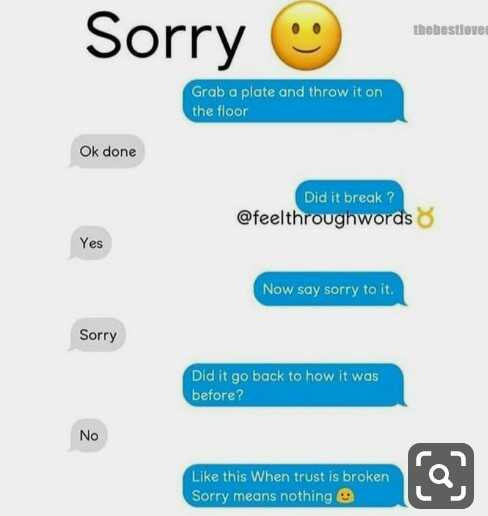 #sorry 🤔 - Sorry ♡ thebestlove Grab a plate and throw it on the floor Ok done Did it break ? @ feelthroughwords 8 Yes Now say sorry to it . Sorry Did it go back to how it was before ? No Like this When trust is broken Sorry means nothing e gebroken - ShareChat