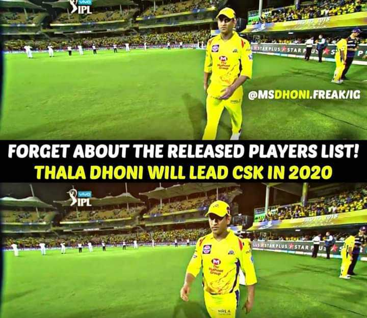 sports - VIVO > IPL ESTAR PLUS STARP @ MSDHONI . FREAK / IG FORGET ABOUT THE RELEASED PLAYERS LIST ! THALA DHONI WILL LEAD CSK IN 2020 U trn ESTAR PLUS STARPUR - ShareChat