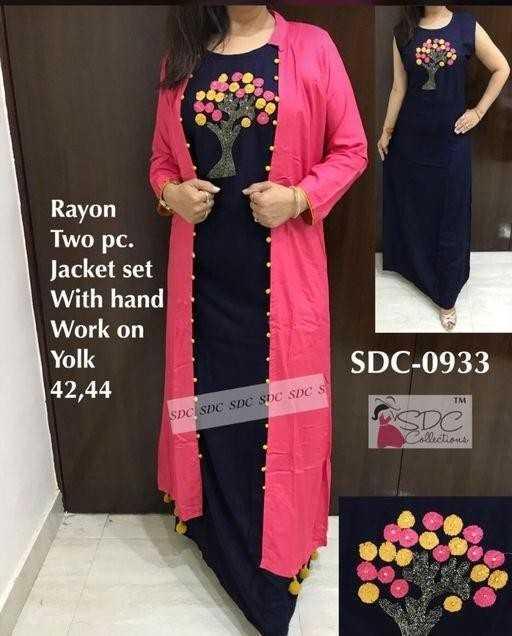 👕stylish kurti - Rayon Two pc . Jacket set With hand Work on Yolk 42 , 44 SDC - 0933 SDC SOC SDC SDC SDC SDC S actions - ShareChat
