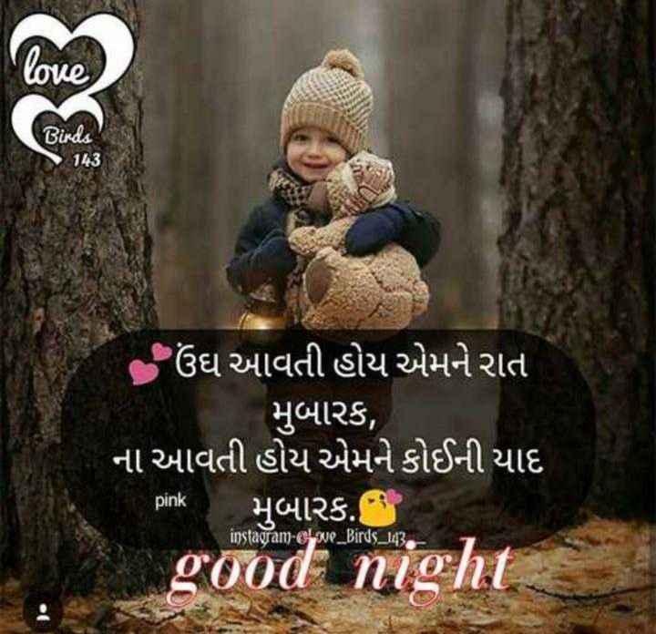 subh ratri - love ( Birds 18 ઉંઘ આવતી હોય એમને રાત મુબારક , ના આવતી હોય એમને કોઈની યાદ મુબારક . good night pink instagram - chwe _ Birds _ 143 - ShareChat