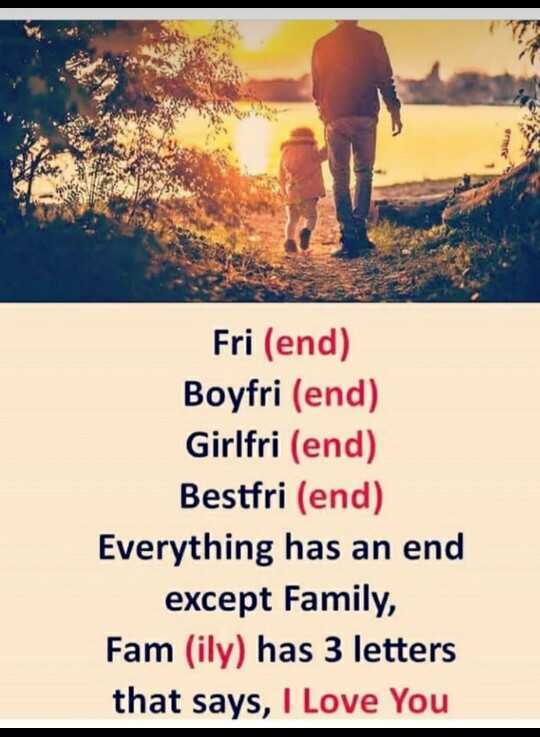 super family - Fri ( end ) Boyfri ( end ) Girlfri ( end ) Bestfri ( end ) Everything has an end except Family , Fam ( ily ) has 3 letters that says , I Love You - ShareChat