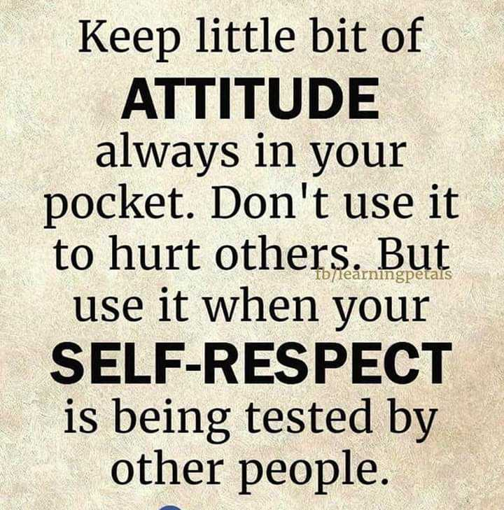 this is my attitude... - Keep little bit of ATTITUDE always in your pocket . Don ' t use it to hurt others . But use it when your SELF - RESPECT is being tested by other people . Tb / learningpetals - ShareChat