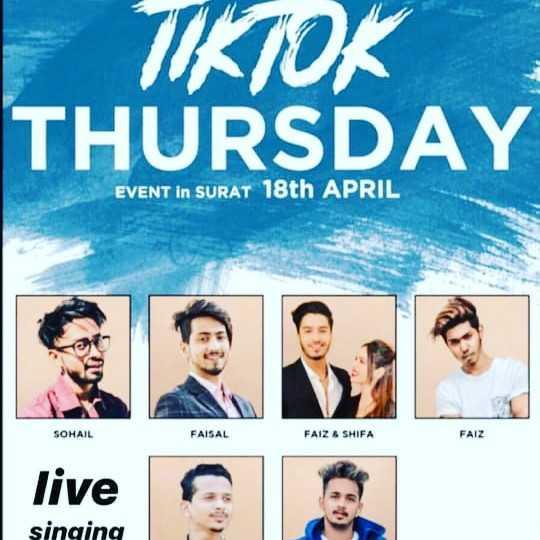 tik tok - TIKTOK THURSDAY EVENT IN SURAT 18th APRIL SOHAIL FAISAL FAIZ & SHIFA FAIZ live e singing - ShareChat