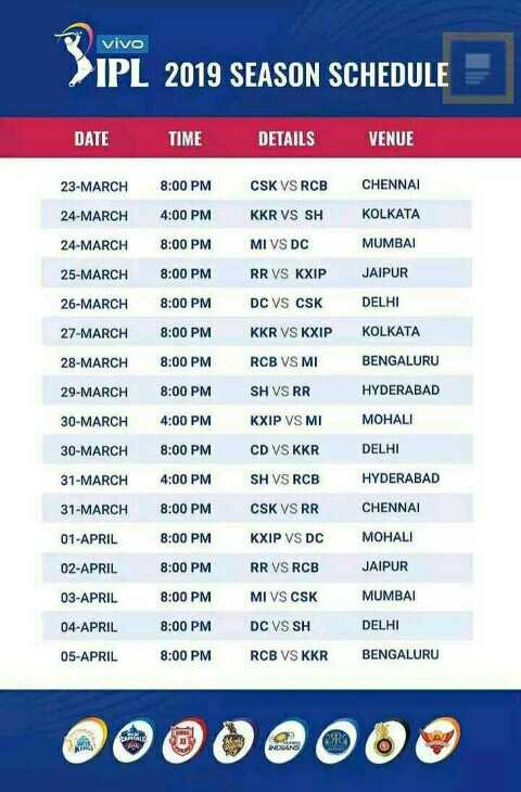 timetable 2019 - vivo > IPL 2019 SEASON SCHEDULE DATE TIME DETAILS VENUE 23 - MARCH 8 : 00 PM CHENNAI 24 - MARCH 4 : 00 PM CSK VS RCB KKR VS SH MI VS DC KOLKATA 24 - MARCH 8 : 00 PM MUMBAI 25 - MARCH 8 : 00 PM RR VS KXIP JAIPUR 26 - MARCH 8 : 00 PM DC VS CSK DELHI 27 - MARCH 8 : 00 PM KKR VS KXIP KOLKATA 28 - MARCH 8 : 00 PMR CB VS MI BENGALURU 29 - MARCH 8 : 00 PM SH VS RR HYDERABAD 30 - MARCH KXIP VS MI MOHALI 30 - MARCH DELHI 31 - MARCH 4 : 00 PM 8 : 00 PM 4 : 00 PM 8 : 00 PM 8 : 00 PM HYDERABAD CD VS KKR SH VS RCB CSK VS RR KXIP VS DC 31 - MARCH CHENNAI 01 - APRIL MOHALI 02 - APRIL 8 : 00 PM RR VS RCB JAIPUR 03 - APRIL 8 : 00 PM MUMBAI 04 - APRIL 05 - APRIL DELHI MI VS CSK DC VS SH R CB VS KKR 8 : 00 PM 8 : 00 PM BENGALURU 00000000 - ShareChat