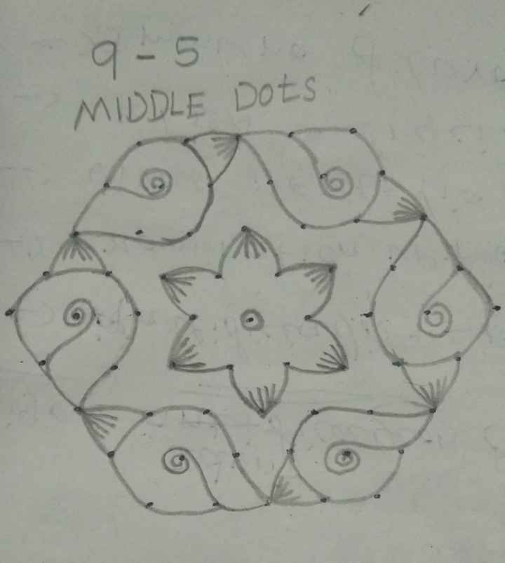 today kolam 😜 - 9 - 5 MIDDLE Dots - ShareChat
