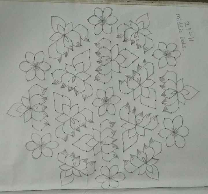 today kolam 😜 - 21 - 11 middle Dots . - ShareChat