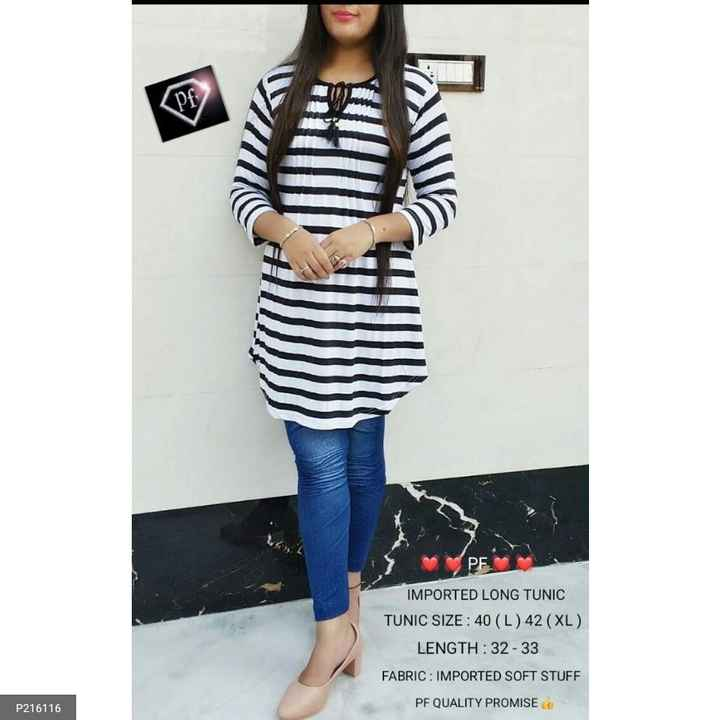 top dijain - IMPORTED LONG TUNIC TUNIC SIZE : 40 ( L ) 42 ( XL ) LENGTH : 32 - 33 FABRIC : IMPORTED SOFT STUFF PF QUALITY PROMISE P216116 - ShareChat