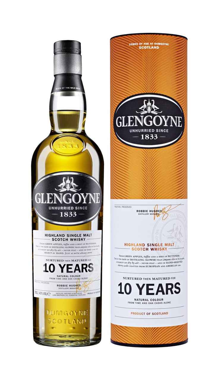 #viral - COMES OF AGE AT DUMGOYNE SCOTLAND GLEN OF THE WILD GEESE GLENGOYNE UNHURRIED SINCE – 1833 S33 GLENGOYNE BADITION , PRESERVED UNHURRIED SINCE – 1833 ROBBIE HUGHES DISTILLERY MANAGER HIGHLAND SINGLE MALT - SCOTCH WHISKY FRESH GREEN APPLES , toffee AND A HINT OF NUTTINESS , THIS IS THE laste OF DISTILLING SLOWER THAN anyone else IN SCU I wwe else IN SCOTLAND OF BARLEY We dry by air - NEVER PEAT - AND OF OAK CA555 SELECT BY HAND . JUST As we ' ve always DONE HIGHLAND SINGLE MALT SCOTCH WHISKY - NURTURED THEN MATURED FOR FRESH GREEN APPLES , toffee AND A HINT OF NUTTINESS . IS THE laste OF DISTILLING SLOWER THAN anyone else IN SCOTLAND OF BARLEY we dry by air - NEVER PEAT - AND OF HAND - SELECTED Sberry casks CRAFTED FROM EUROPEAN AND AMERICAN OAK . 10 YEARS NATURAL COLOUR FROM TIME AND OAK CASKS ALONE NURTURED THEN MATURED FOR ON PRESERVED ROBBIE HUGHES DISTILLERY MANAGER 10 YEARS TUUL 40 % VOL TUO VULC D ISTILLED , MATURED & BOTTLED BY LANG BROTHERS LTD . DUMGOYNE . BERS UD . DUMGOYNE SCOT AND PRODUCT NATURAL COLOUR FROM TIME AND OAK CASKS ALONE PRODUCT OF SCOTLAND DUMGOYNE SCOTLAND - ShareChat