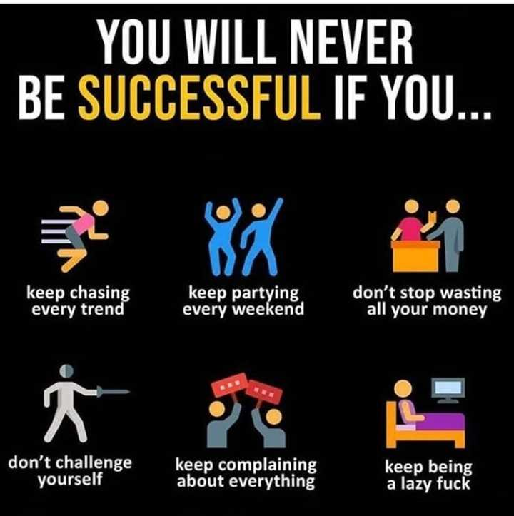 way of success - YOU WILL NEVER BE SUCCESSFUL IF YOU . . . keep chasing every trend keep partying every weekend don ' t stop wasting all your money don ' t challenge yourself keep complaining about everything keep being a lazy - ShareChat