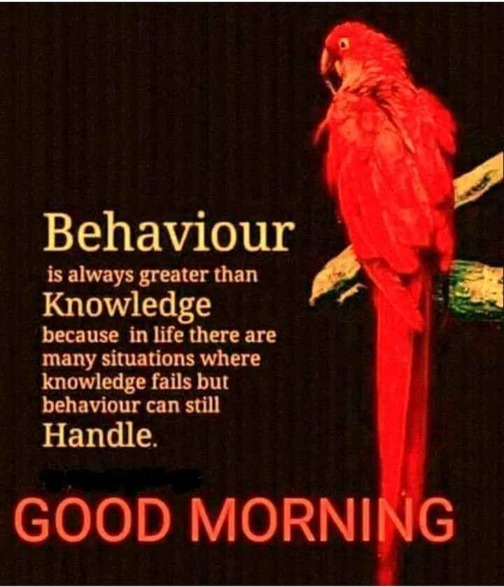 wishes - Behaviour is always greater than Knowledge because in life there are many situations where knowledge fails but behaviour can still Handle . GOOD MORNING - ShareChat