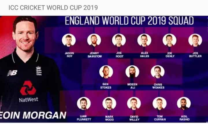 world cup 2019 🏏 - ICC CRICKET WORLD CUP 2019 ENGLAND WORLD CUP 2019 SQUAD JASON ROY JONNY BAIRSTOW JOE ROOT ALEX HALES JOE DENLY JOS BUTTLER BEN STOKES MOCEN ALI CHRIS WOAKES NatWest EOIN MORGAN UAM PLUNKETT MARK WOOD DAVID WILLEY TOM CURRAN ADIL RASHID - ShareChat