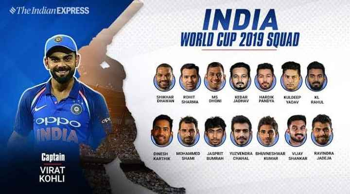 world toughest final - The Indian EXPRESS INDIA WORLD CUP 2019 SQUAD 2300000 KULDEEP SHIKHAR DHAWAN ROHIT SHARMA MS DHONI K EDAR JADHAV HARDIK PANDYA KL RAHUL OPSO INDIA DINESH KARTHIK MOHAMMED SHAMI JASPRIT BUMRAH YUZVENDRA BHUVNESHWAR CHAHAL KUMAR VIJAY SHANKAR RAVINDRA JADEJA Captain VIRAT KOHLI - ShareChat