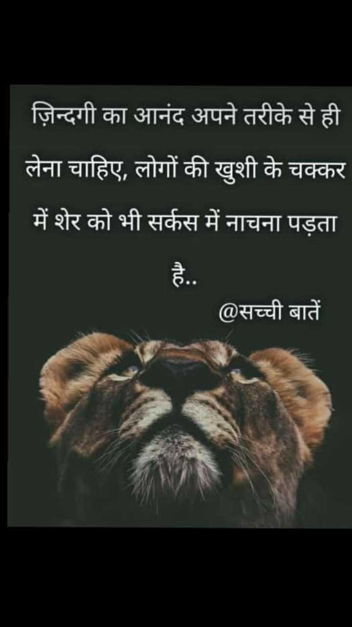 yes true - ज़िन्दगी का आनंद अपने तरीके से ही लेना चाहिए , लोगों की खुशी के चक्कर में शेर को भी सर्कस में नाचना पड़ता @ सच्ची बातें - ShareChat