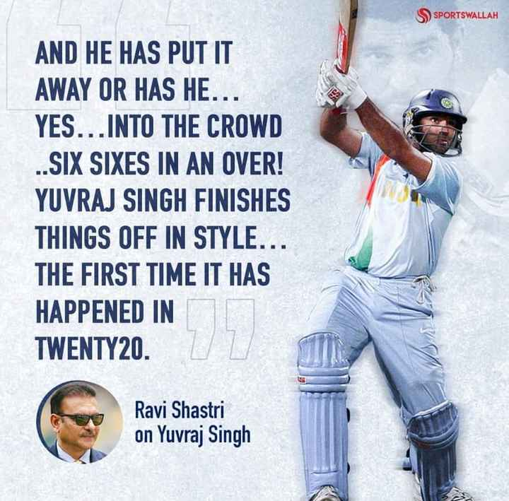 yuvraj singh - SSPORTSWALLAH AND HE HAS PUT IT AWAY OR HAS HE . . YES . . . INTO THE CROWD . . SIX SIXES IN AN OVER ! YUVRAJ SINGH FINISHES THINGS OFF IN STYLE . . . THE FIRST TIME IT HAS HAPPENED IN TWENTY20 . DRON Ravi Shastri on Yuvraj Singh - ShareChat